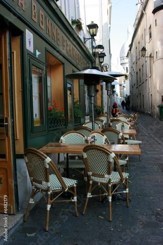 Typical Parisian outdoor cafe in Montmartre