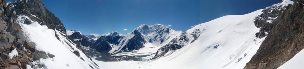 Panorama. A glacier Left Maashey. Mountain Altai.