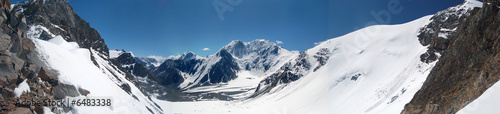 Panorama. A glacier Left Maashey. Mountain Altai.