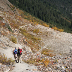 elderly couple walking in Canadian Rockies