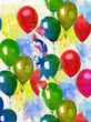 Quadro painted balloons background