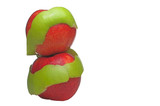 Two red apples wrapped in a Granny Smith apple peel. poster
