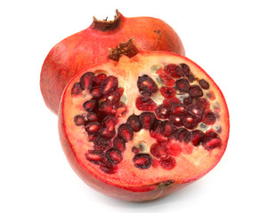 pomegranate cut in half isolated on white background