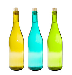 A close up on glass bottles isolated on a white background.
