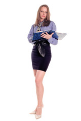 Businesswoman  holding folder and documents