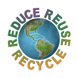 World globe with reduce-reuse-recycle words poster