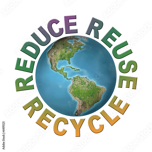 World globe with reduce-reuse-recycle words