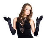 Young slim woman with black gloves. Isolated on white. poster