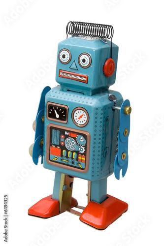 Leinwanddruck Bild retro robot toy