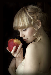the young girl and apple
