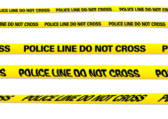 several versions of a police line with clipping paths
