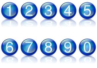 Boules de cristal numérotées bleu