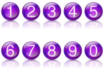 Boules de cristal numérotées violet