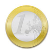 1 Euro coin, realist vector illustration