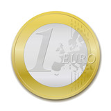 1 Euro coin, realist vector illustration poster