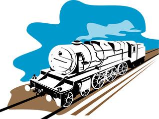 Steam train on white background