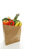 Groceries bag on a white background poster