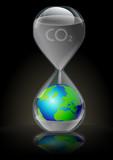Emissions de CO2 : urgence pour la terre (fond noir) poster