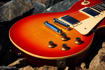 Closeup of Electric Sunburst Guitar
