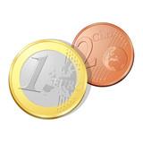 Pièces de un euro et deux cents