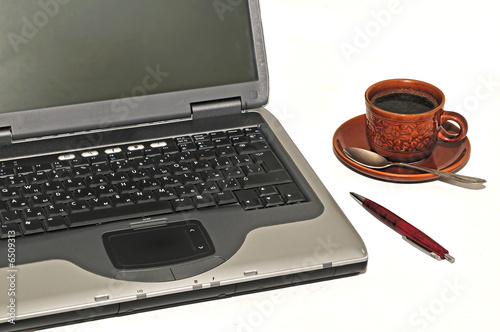Laptop during work break, isolated on white background