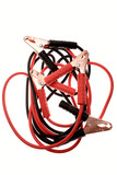 Jumper cables over white background poster