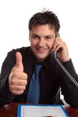 Man business satisfaction guaranteed