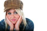 Pretty blond wearing a tweed hat