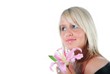 Beautiful girl holding a pink lily on white background