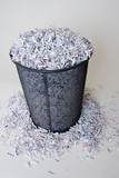 Shredded Paper in and around the basket