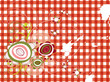 retro grunge flowers on red gingham
