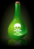 Fiole de poison verte sur fond noir poster