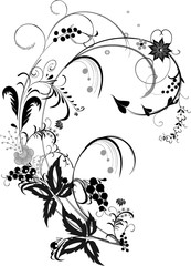 black and gray flower decoration