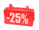 red leather handbag with sale sign poster