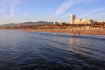 Santa Monica Beach with Reflections in the Pacific Ocean