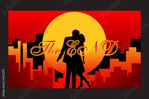 final frame of the love story with happy end in vector