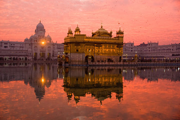 Sunset at Golden Temple, Amritsar, India.