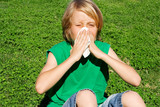 child with allergy or hay fever sneezing poster