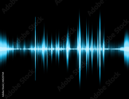 canvas print picture Graphic of a digital sound on black bottom