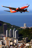 Airplane over Ipanema beach in Brazil poster