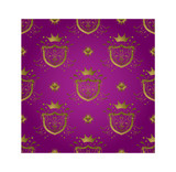 royal seamless repeat background design in purple and gold poster