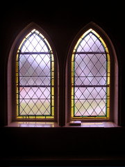 Stained Glass Windows in an Old Church