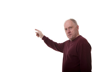Man Pointing at Board