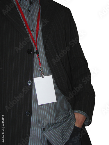 Business man with blank vip pass