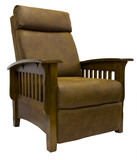 Oak Wood Mission Style Leather Reclining Chair poster