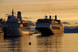 Big passenger ships in Ushuaia,  Argentina, South America. poster