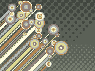 retro circles, stripes and halftone (vector)