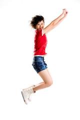 happy jumping girl