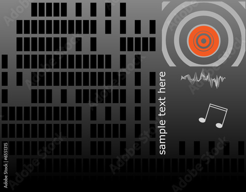 Musical vector background with sound waves.