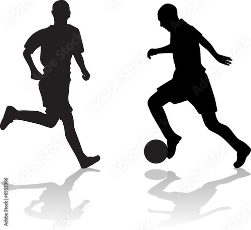 soccer player silhouette. soccer players silhouette